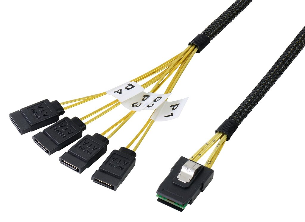 Internes Mini SAS Kabel, SFF8087 auf SATA 4-fach
