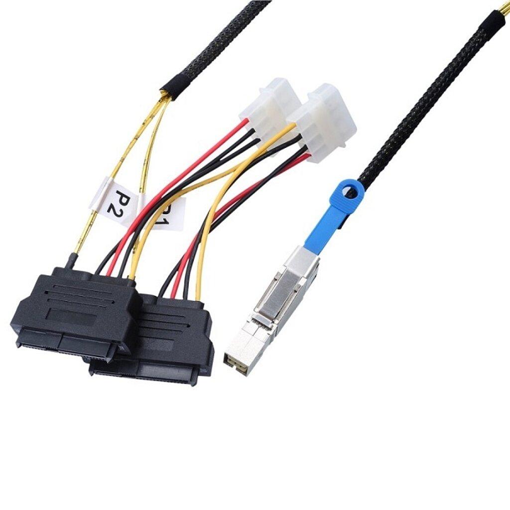 Externes SAS HD Kabel, SFF8644 auf SFF8482 SAS Drive*2