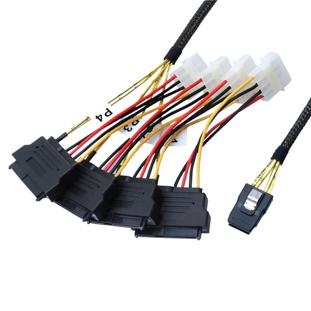 Internes Mini SAS Kabel, SFF8087 auf SFF8482 (SAS Drive) 4-fach